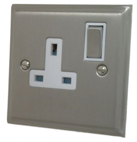 G&H DSN209 Deco Plate Satin Nickel 1 Gang Single 13A Switched Plug Socket